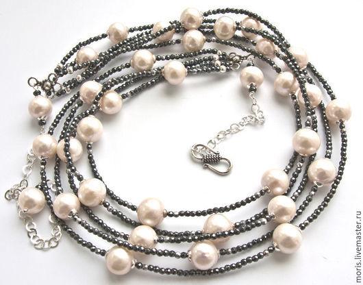 Жемчужное колье из серебра и крупного белого жемчуга. Жемчужное ожерелье с серебром. Колье из серебра и натурального жемчуга. Колье из белого жемчуга и серебра.