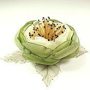 Украшения handmade. Livemaster - original item Waltz Of The Olive Groves. Brooch-handmade flower made of fabric. Handmade.
