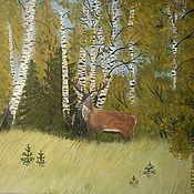 Картины и панно ручной работы. Ярмарка Мастеров - ручная работа Олень на опушке леса. Handmade.