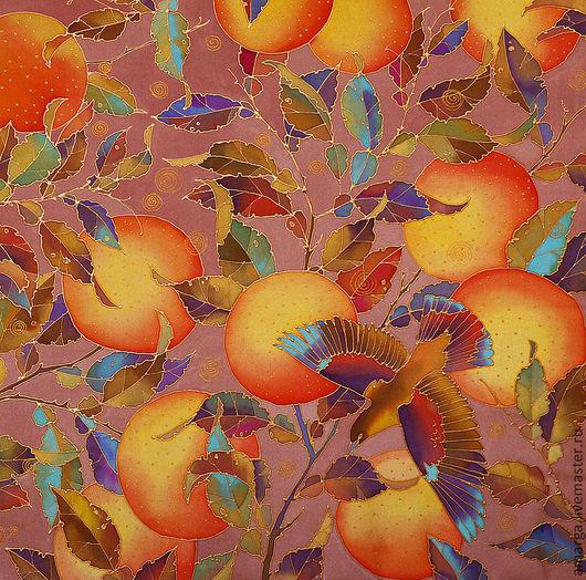"""Шали, палантины ручной работы. Ярмарка Мастеров - ручная работа. Купить батик платок """"Апельсины и птички"""". Handmade. Шелковый платок"""