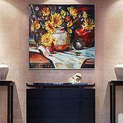"""Картина  с цветами маслом """"Солнечный натюрморт"""",50х60 цветы, натюрморт"""