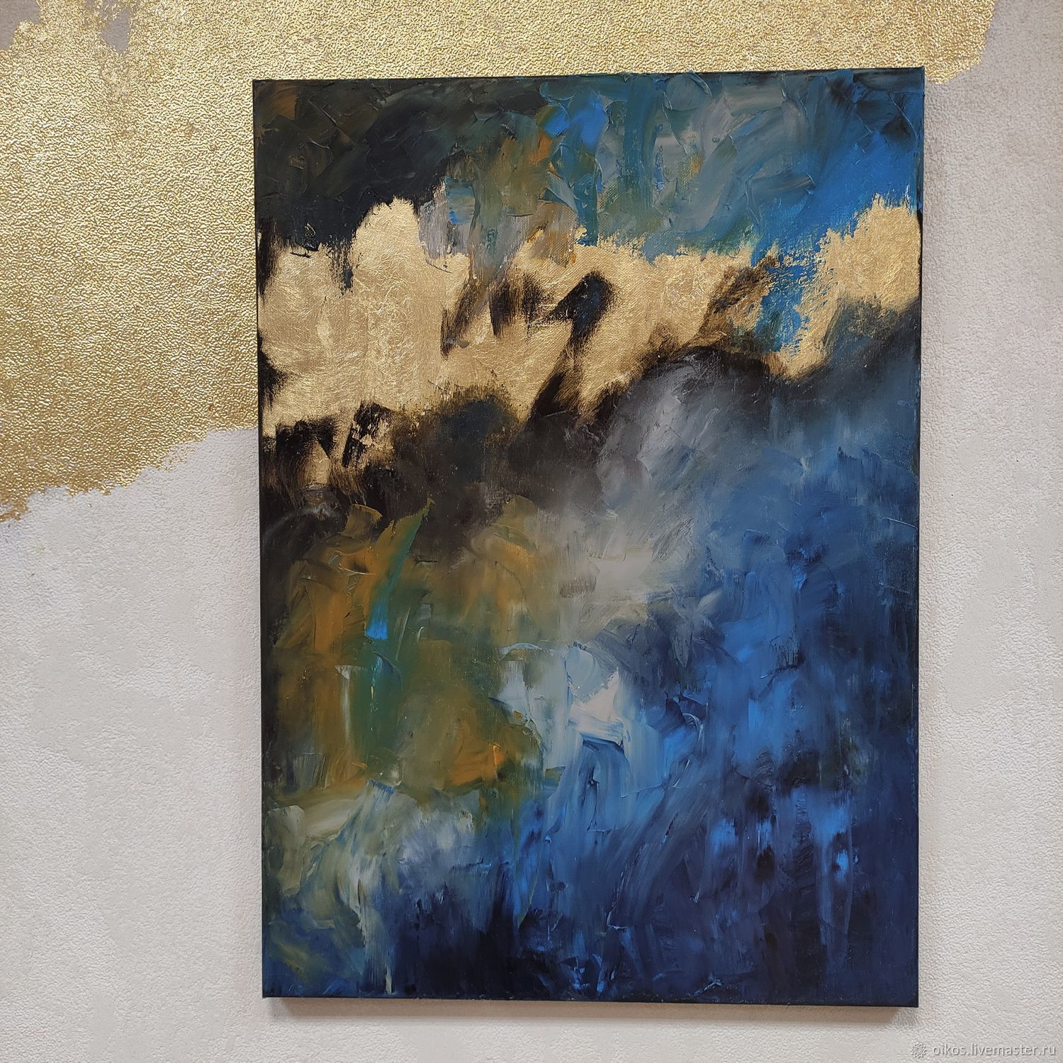 Paintings: abstract oil painting in blue tones with gold potala, Pictures, St. Petersburg,  Фото №1