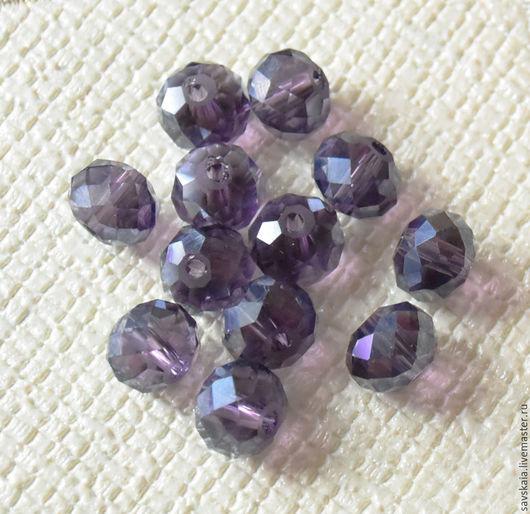 Бусины кристаллы, фиолетовые, рондель, 6х8 мм