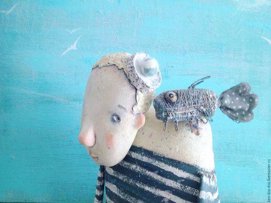 Коллекционные куклы ручной работы. Ярмарка Мастеров - ручная работа. Купить Девочка Че. Handmade. Рыбка, текстиль, синий