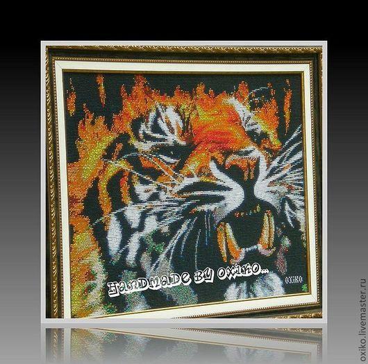 """Животные ручной работы. Ярмарка Мастеров - ручная работа. Купить """"Огненный Тигр"""" Бисер. Handmade. Черный, бисер, Вышитая картина"""