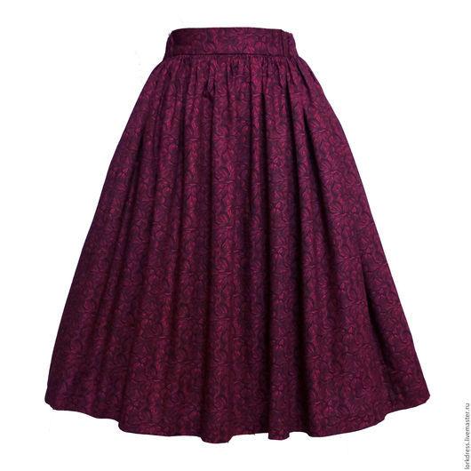 Юбки ручной работы. Ярмарка Мастеров - ручная работа. Купить Юбка миди Crimson lilly 60 см с карманами. Handmade.