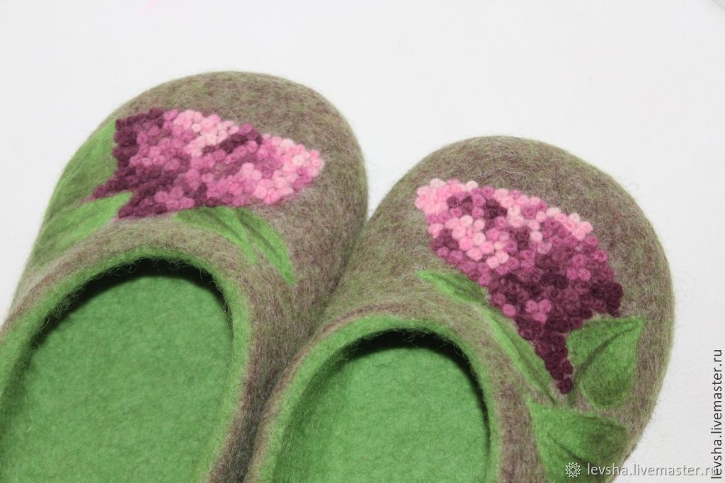 Felted Slippers 'lilac' house Slippers 38p, Slippers, Moscow,  Фото №1