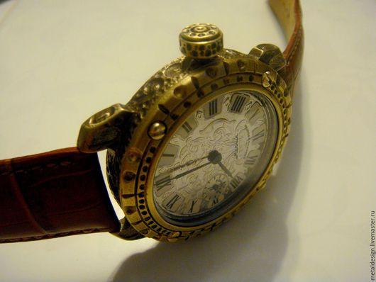 Подарки для мужчин, ручной работы. Ярмарка Мастеров - ручная работа. Купить Бронзовые часы в стиле стимпанк. Handmade. Золотой, бронза