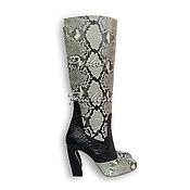 Обувь ручной работы handmade. Livemaster - original item Boots Python MONTE. black and white.. Handmade.