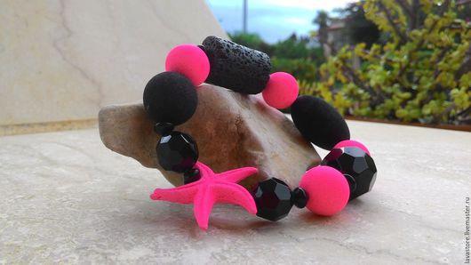 Браслеты ручной работы. Ярмарка Мастеров - ручная работа. Купить Браслет из лавы Розовая звезда. Handmade. Разноцветный, браслет из камней