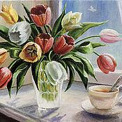 Картины и панно ручной работы. Ярмарка Мастеров - ручная работа Тюльпаны на окне. Handmade.