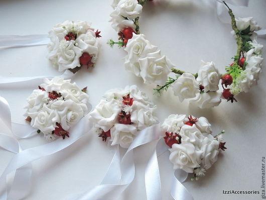 """Браслеты ручной работы. Ярмарка Мастеров - ручная работа. Купить Браслет на руку из цветов """"Свадебный"""". Handmade. Белый, браслет из цветов"""