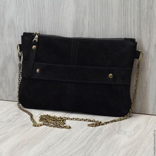 Черный замшевый клатч, замшевый клатч на цепочке, Ирина Болдина, замшевая сумка на цепочке