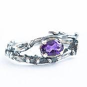 Украшения handmade. Livemaster - original item Twin silver ring with  amethyst. Handmade.