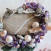 Украшения handmade. Livemaster - original item Amethyst pearl bracelet copyright. Handmade.