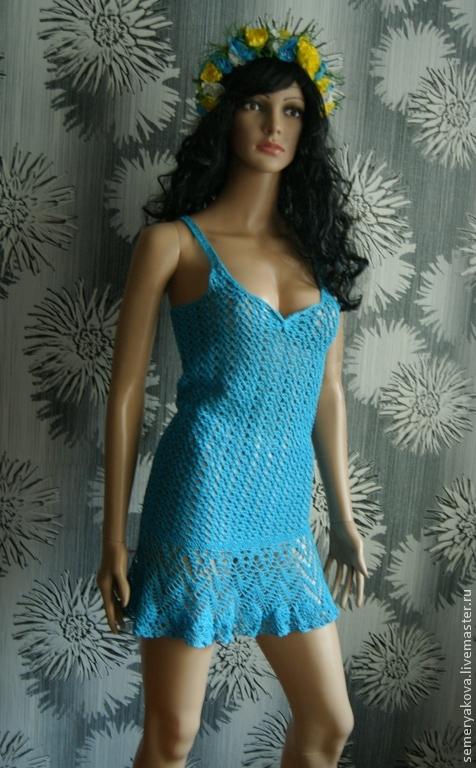 Пляжные платья ручной работы. Ярмарка Мастеров - ручная работа. Купить Голубой сарафан вязаный крючком из хлопка. Handmade. Бирюзовый