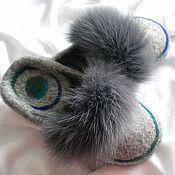 Обувь ручной работы. Ярмарка Мастеров - ручная работа Тапочки с меховой отделкой. Handmade.