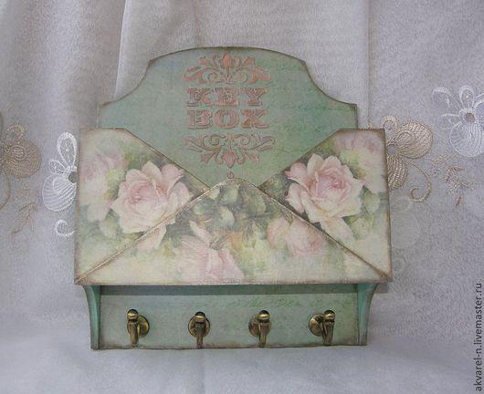 """Прихожая ручной работы. Ярмарка Мастеров - ручная работа. Купить Ключница """"Розовые розы"""". Handmade. Ключница, вешалка-ключница, дерево"""