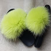 Обувь ручной работы handmade. Livemaster - original item Flip-flops with arctic fox fur are yellow. Handmade.