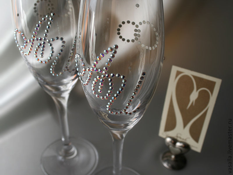 Personalized wedding glasses with Swarovski crystals, Wedding glasses, Moscow,  Фото №1