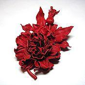 Украшения ручной работы. Ярмарка Мастеров - ручная работа Цветы из кожи. Брошь из кожи. Староанглийская роза. Handmade.