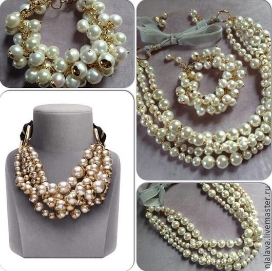 Оригинальное роскошное украшение на шею колье ожерелье браслет из жемчуга купить в интернете ручной работы дизайнера Светланы Молодых