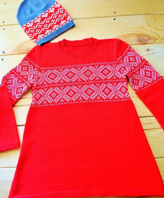 Одежда для девочек, ручной работы. Ярмарка Мастеров - ручная работа. Купить Платье-туника. Handmade. Орнамент, платье вязаное