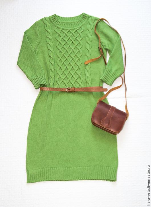 Платья ручной работы. Ярмарка Мастеров - ручная работа. Купить Платье из хлопка. Handmade. Зеленый, зимняя мода 2015