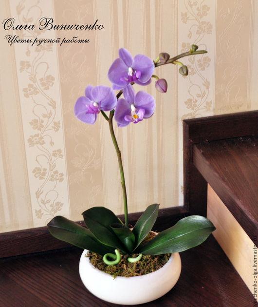 Цветы ручной работы. Ярмарка Мастеров - ручная работа. Купить Сиреневая орхидея фаленопсис из полимерной глины. Handmade. Сиреневый
