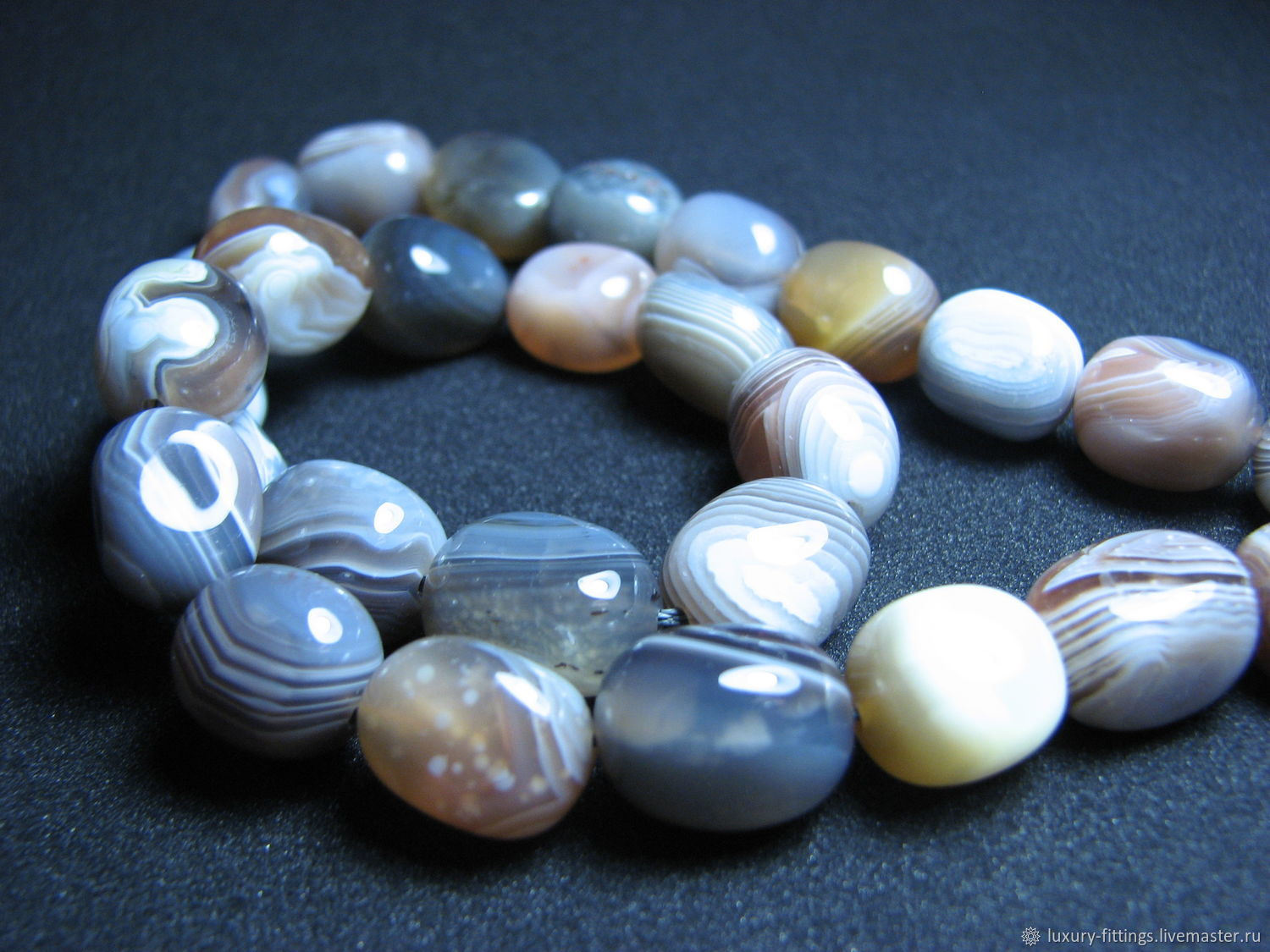 Agate, tumbling, Beads1, Moscow,  Фото №1
