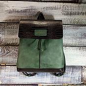 Сумки и аксессуары handmade. Livemaster - original item Backpack women`s leather green. Handmade.