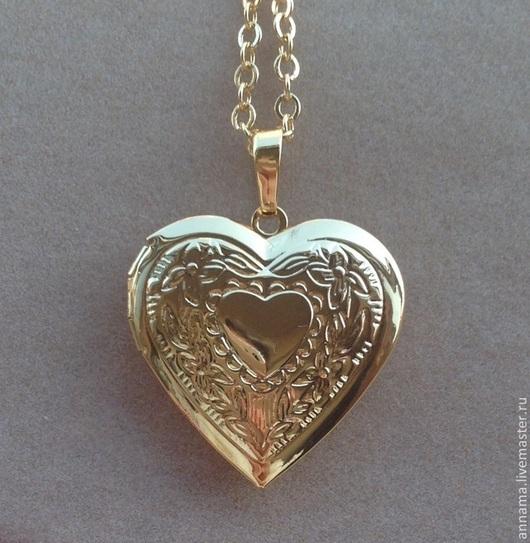 Для украшений ручной работы. Ярмарка Мастеров - ручная работа. Купить Открывающийся Медальон Влюбленное сердце. Handmade. Золотой, сердце