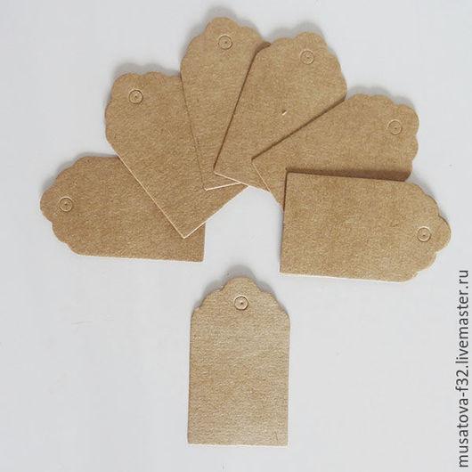 Упаковка ручной работы. Ярмарка Мастеров - ручная работа. Купить Навесные бирки 3-5см из крафт-картона. Handmade. Коричневый