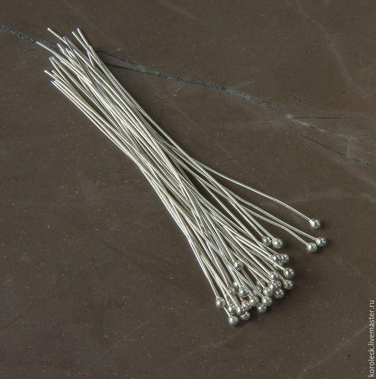Для украшений ручной работы. Ярмарка Мастеров - ручная работа. Купить Пин серебряный с шариком, толщина 0,5 мм. Handmade.
