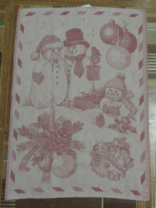 Кухня ручной работы. Ярмарка Мастеров - ручная работа. Купить полотенце лен хлопок Снеговики. Handmade. Лен, лен хлопок