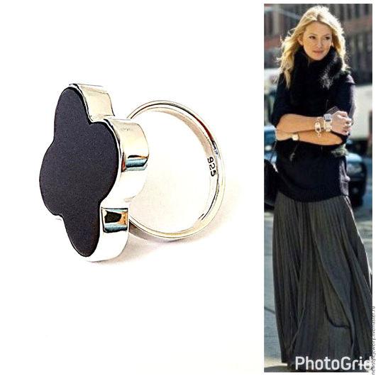 Кольца ручной работы. Ярмарка Мастеров - ручная работа. Купить Серебряное кольцо с чёрным агатом. Handmade. Черный, кольцо с агатом