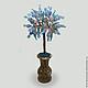 Дерево из агата `Подарок от сердца` в вазочке из оникса