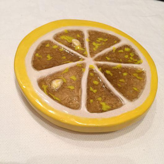 """Натюрморт ручной работы. Ярмарка Мастеров - ручная работа. Купить """"Сочный лимон"""" настенное панно со стеклом (поколение 2). Handmade."""