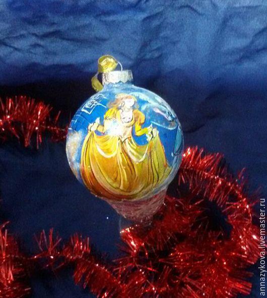 Новый год 2017 ручной работы. Ярмарка Мастеров - ручная работа. Купить Золушка. Handmade. Синий, елочный шар, стекло