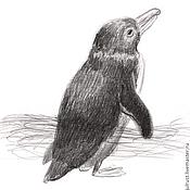 Картины и панно ручной работы. Ярмарка Мастеров - ручная работа Картина Пингвинчик, птица серый черный белый графика. Handmade.