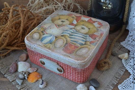 """Корзины, коробы ручной работы. Ярмарка Мастеров - ручная работа. Купить """"Мишки на пляже"""" короб. Handmade. Мишка, короб для хранения"""