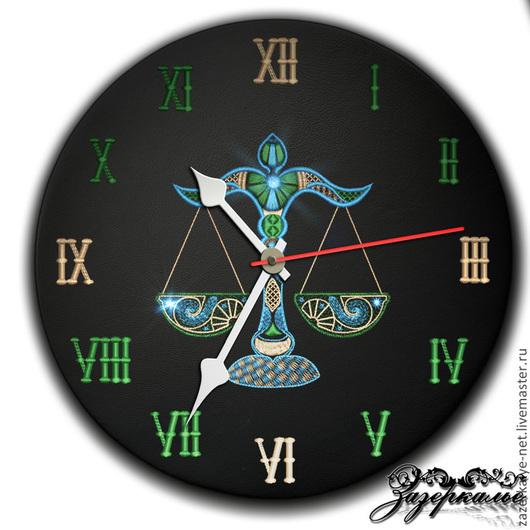 """Часы для дома ручной работы. Ярмарка Мастеров - ручная работа. Купить Часы из натуральной кожи """"Весы"""". Handmade. Часы интерьерные"""