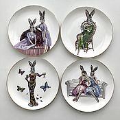Посуда handmade. Livemaster - original item Painting of China Hares. Fashion magazine. Handmade.