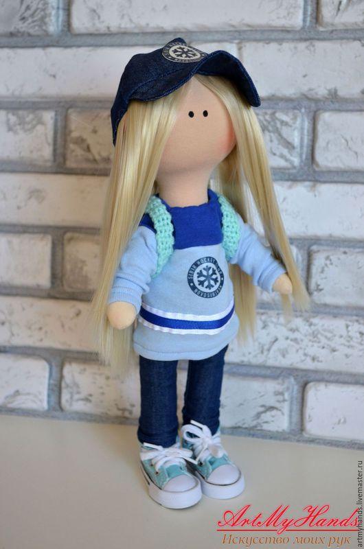 Коллекционные куклы ручной работы. Ярмарка Мастеров - ручная работа. Купить Интерьерная кукла хоккейная болельщица. Handmade. Интерьерная кукла