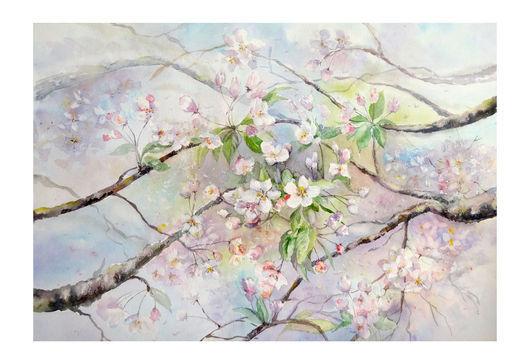 Картины цветов ручной работы. Ярмарка Мастеров - ручная работа. Купить Весна. Handmade. Бледно-сиреневый, весна, сакура, цветы