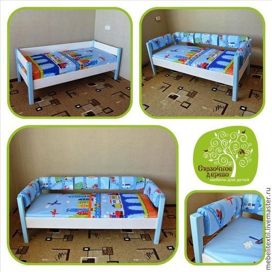 """Детская ручной работы. Ярмарка Мастеров - ручная работа. Купить Кровать для мальчика с текстилем """"машинки"""". Handmade. Голубой, детская комната"""