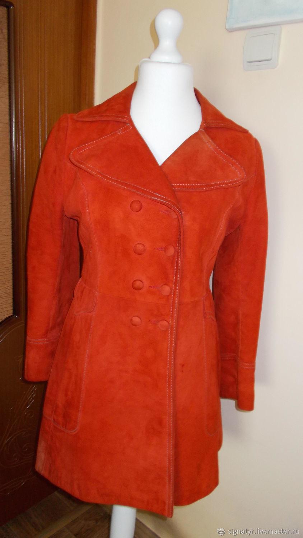 Raincoat-trench coat suede natural 48 R vintage, Vintage clothing, Orenburg,  Фото №1