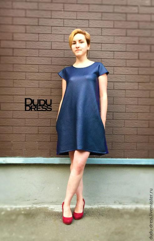Платья ручной работы. Ярмарка Мастеров - ручная работа. Купить Короткое свободное платье. Handmade. Тёмно-синий, черное платье