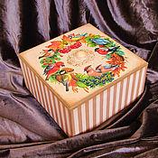 Утварь ручной работы. Ярмарка Мастеров - ручная работа Короб большой Зимние птицы. Handmade.