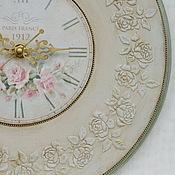 """Для дома и интерьера ручной работы. Ярмарка Мастеров - ручная работа Часы настенные круглые """"Нежность шебби"""". Handmade."""